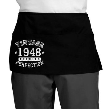 70th Birthday Vintage Birth Year 1948 Dark Adult Mini Waist Apron by