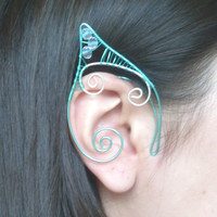 Seafoam Green & Silver Plated Handmade Wire Wrapped Elf Ear Cuffs With Aurora Borealis Coated Clear Swartovski Elements. Mermaid Ear Cuffs