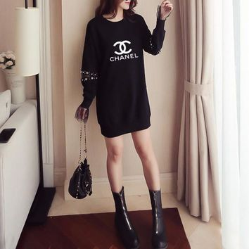 """Chanel"" Women Loose Fashion Letter Lace Stitching Hollow Long Sleeve Medium Long Section Sweater Dress"