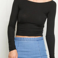 Black Long Sleeve Knitted Crop Top