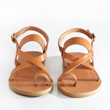 Sandals, Leather sandals with cross strap and toe ring, Greek sandals made in Athens