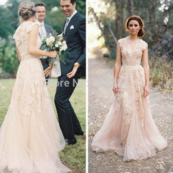 Vintage Cap Sleeves Ruffles V Neck Layered Lace Bridal Gowns Blush Wedding Dress