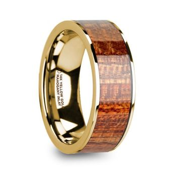 Exotic Mahogany Wood Inlay 14K Yellow Gold Ring
