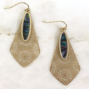 Ariana Abalone & Gold Drop Earrings