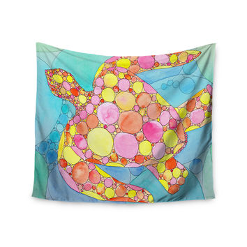 "Catherine Holcombe ""Circle Turtle"" Yellow Orange Wall Tapestry"