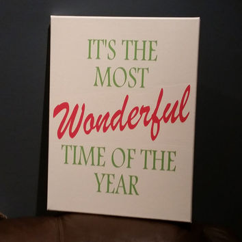 It's the Most Wonderful Time of the Year - Christmas Canvas Subway Art Print