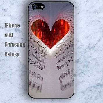 Red love music symbol iPhone 5/5S case Ipod Silicone plastic Phone cover Waterproof
