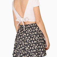 V-neck Back Drawstring Short Sleeve Cropped Top