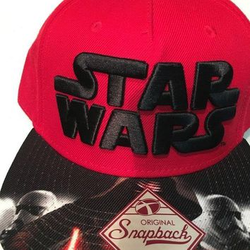 DCCKIHN BRAND NEW STAR WARS RED AND BLACK SNAPBACK HAT SHIPPING