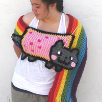 Nyan Cat Scarf Pop Tart Cat Thick and Chunky New by TEJIDOS