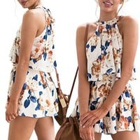 Casual Womens Holiday Mini Playsuit Ladies Jumpsuit Romper Summer Beach Shorts Sundress 2Pcs Set