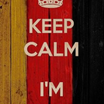 'Keep Calm I'm German' w/ National German Flag Wood Grain Design - Plywood Wood Print Poster Wall Art
