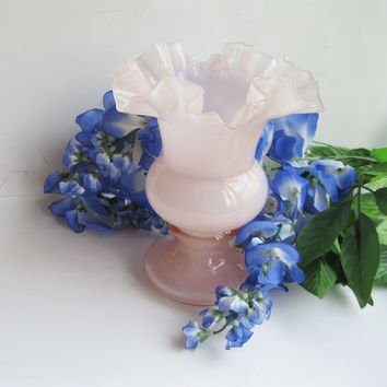 "Fenton Rose Overlay 6"" Vase 1940s Vintage Double Crimp"