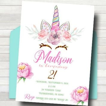 Unicorn Birthday Invitation - Unicorn Party Invitation - Unicorn Birthday Invitation Printable - Digital Unicorn Party Invitation