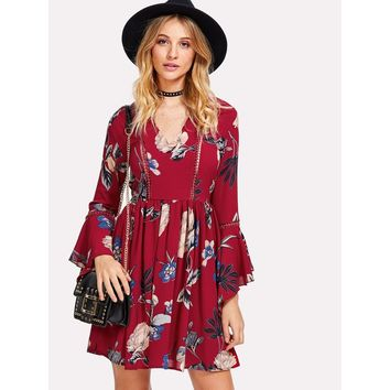 Burgundy V-Neck 3/4 Sleeve Length A-line Dress