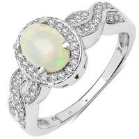 0.68 Carat Genuine Ethiopian Opal & White Diamond .925 Sterling Silver Ring