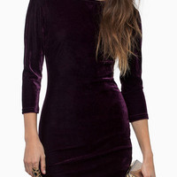 Purple Backless 3/4 Sleeve Corduroy Bodycon Mini Dress