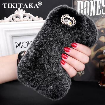 Fashion Fluffy Warm Soft Wool Rabbit Fur Cover Case For iPhone 5 6 6S 6 Plus 6S Plus Hair Plush Bling Diamond Crystal Bow Cases