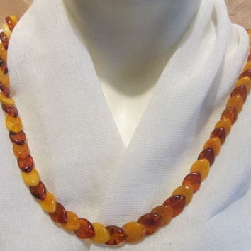 100% Natural #Antique #Baltic #Amber #Necklace, 28,5 grams #brown #yellow egg yolk butterscotch  polished  opaque beads  for adult