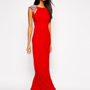 Lipsy VIP Maxi Dress with Jewelled Shoulders