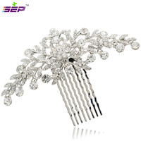 Clear Rhinestone Crystals Wedding Bride Bridal Floral Hair Comb Head Pieces Hair Pins Jewelry Accessories COFA2944