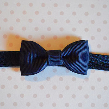 Navy Blue Baby Bow Headband. Tiny Navy Bow Headband. Baby Hair Accessories. Baby Girls Hair Accessories. Baby Bow Headband. Navy Blue