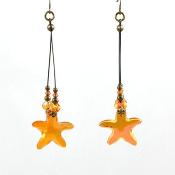 Starfish Earrings Astral Pink Hoops Crystal Jewelry