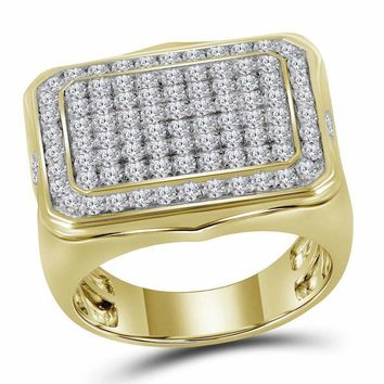 10kt Yellow Gold Mens Round Diamond Rectangle Cluster Ring 2-3/4 Cttw