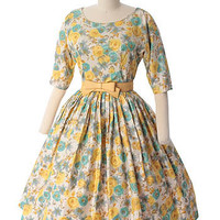 1960's Watercolor Floral Garden Party Dress