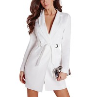 Black Long Suit Blazers Women Long Sleeve Single Button Belt Slim Blazers Deep V Notched Collar Jacket OL Office Outwear