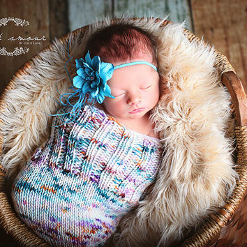 Multi Colored Newborn Knitted Baby Cocoon, Baby Swaddle sack, Baby Swaddle wrap, Photography prop --- Made to order