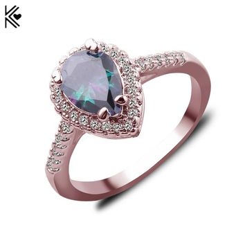 Romantic Chromatic Fire Opal Ring For Women Bridal Silver/Rose Gold Filled Wedding Party Engagement Promise Ring Love Jewelry