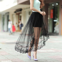 2015 new summer women's sexy lace skirts perspective skirts womens fashion long section skirt