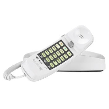AT&T 210M Trimline Corded Phone, 1 Handset, White