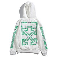 Off White Autumn And Winter New Fashion Letter Print Women Men Hooded Long Sleeve Sweater Top White