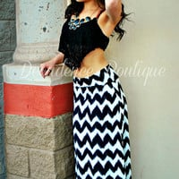 ETCHED CHEVRON MAXI SKIRT