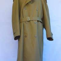 Vintage 1980's Christian Dior Monsieur Dark Khaki Trench Coat Men's With Wool Zip Out Lining. Size 44R