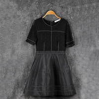 Black Lace Short-Sleeve Zipper Back A-Line Dress