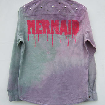 Mermaid Tie Dye Shirt, Pastel Goth Clothing, Kawaii Fashion, Studded Shirt, Tumblr Aesthetic Grunge Dripping Font Top
