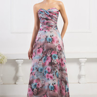 Floral Printed Strapless Ruched Maxi Dress