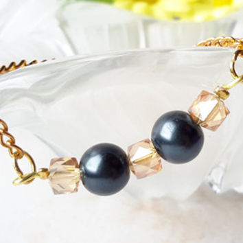 Grey Bridesmaid Pearl Bracelet Gift Brown Glass Gold Jewellery Chain & Link Most Popular Item Made in Canada Flower Girl Gift Grey Weddings