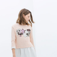 PRINTED T-SHIRT WITH 3/4 SLEEVE