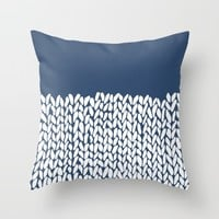Half Knit Navy Throw Pillow by Project M