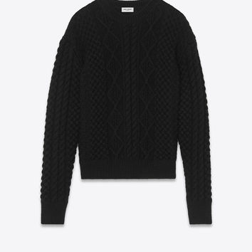 Round-neck sweater in Aran cable-knit black wool