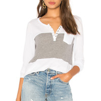 Chaser Blocked Jersey Henley in White & Streaky Grey
