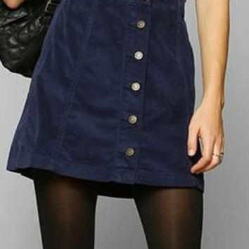 Pure Color Corduroy Button A-Line Mini Skirt