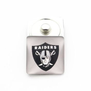 Newest 10pcs/lot Square Football Oakland Raiders Button 18mm/20mm Fit DIY Ginger Snap Bracelet Necklace Jewelry