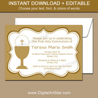 First Holy Communion Invitations - Printable Gold First Communion Invitation Template - EDITABLE PDF - Boy First Communion - Girl Communion