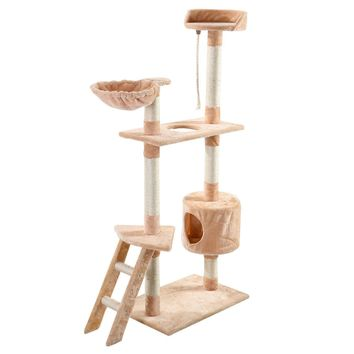 "New 60"" Cat Tree Tower Condo Scratcher Furniture Kitten Pet House Hammock Beige"