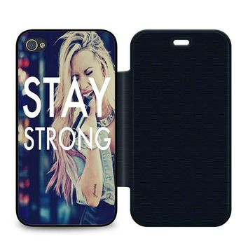 Stay Strong Demi Lovato Leather Wallet Flip Case iPhone 4 | 4S